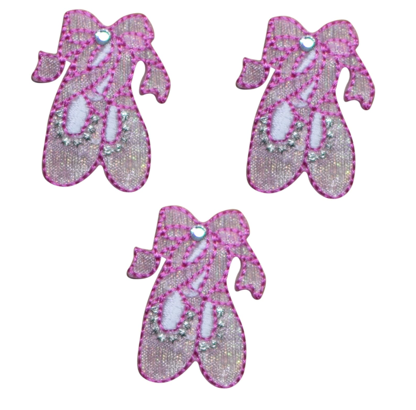 ballerina ballet dance shoes applique patch - silver jewel (3-pack, iron on)