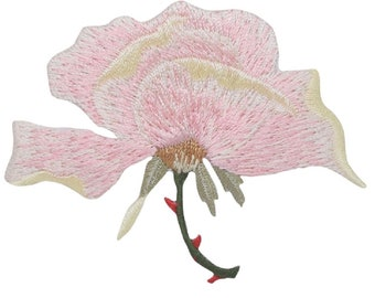 """Pink Rose Applique Patch - Blooming Pedals Flower Badge 2-5/8"""" (Iron on)"""