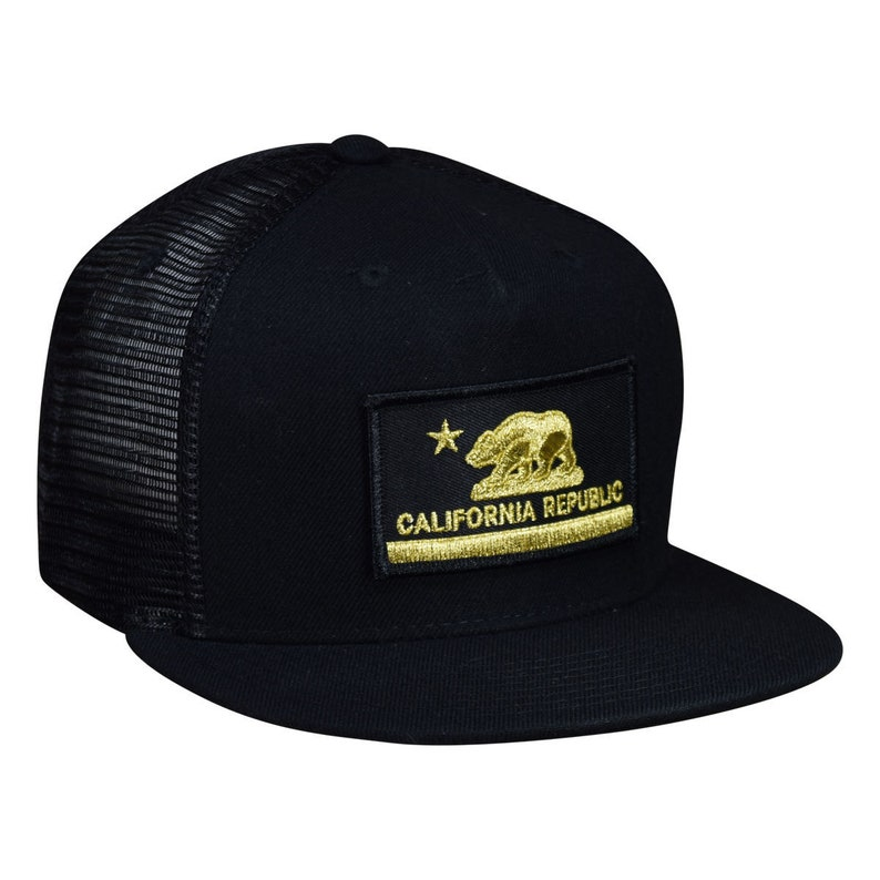 California Republic Trucker Hat by LET/'S BE IRIE Black and Gold Curved Bill