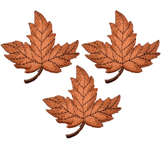 """Green Autumn Fall Leaf Applique Patch Maple Leaf 2-3//8/"""" Iron on"""