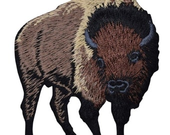 """American Bison Applique Patch - Buffalo Animal Badge 3"""" (Iron on)"""