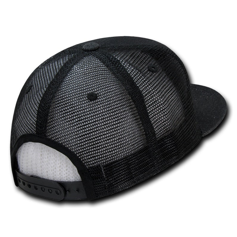 aea0df756 5 Panel Denim Trucker Hat - Black, Cotton and Nylon (Decky 1082-BLK, New  with Tags)