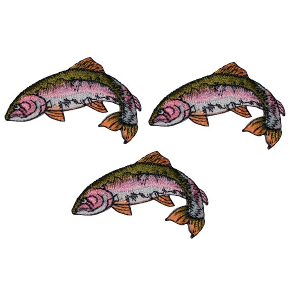 RAINBOW TROUT RIGHT FISHING  FRESHWATER FISH Iron On Embroidered Patch
