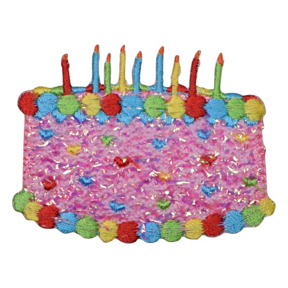 Pink Confetti Shimmery Birthday Cake With Candles Applique