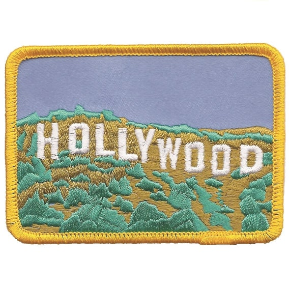 Patch HOLLYWOOD iron on embroidered applique DIY costume star los angeles plate