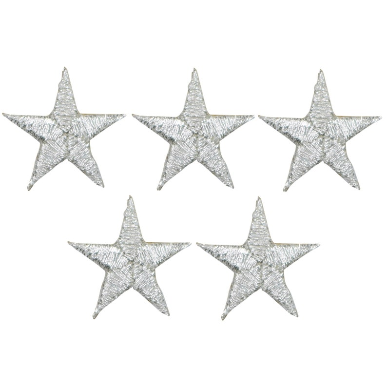 Silver 78 5-Pack, Small, Iron on Star Applique Patch