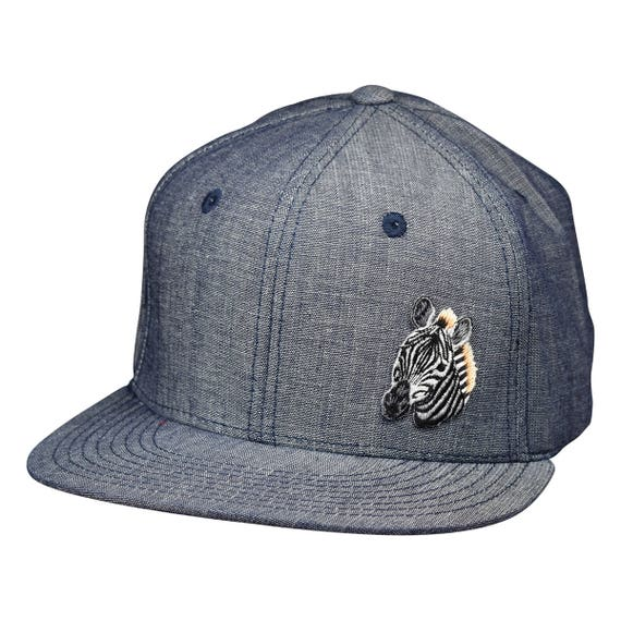 8627b65978b Zebra Baseball Cap Washed Blue Denim Snapback Hat