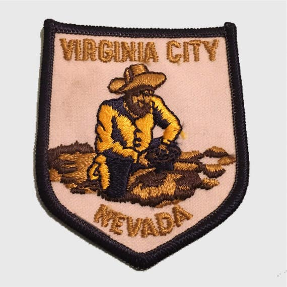 vintage virginia city nevada gold mining patch clearance sew etsy. Black Bedroom Furniture Sets. Home Design Ideas
