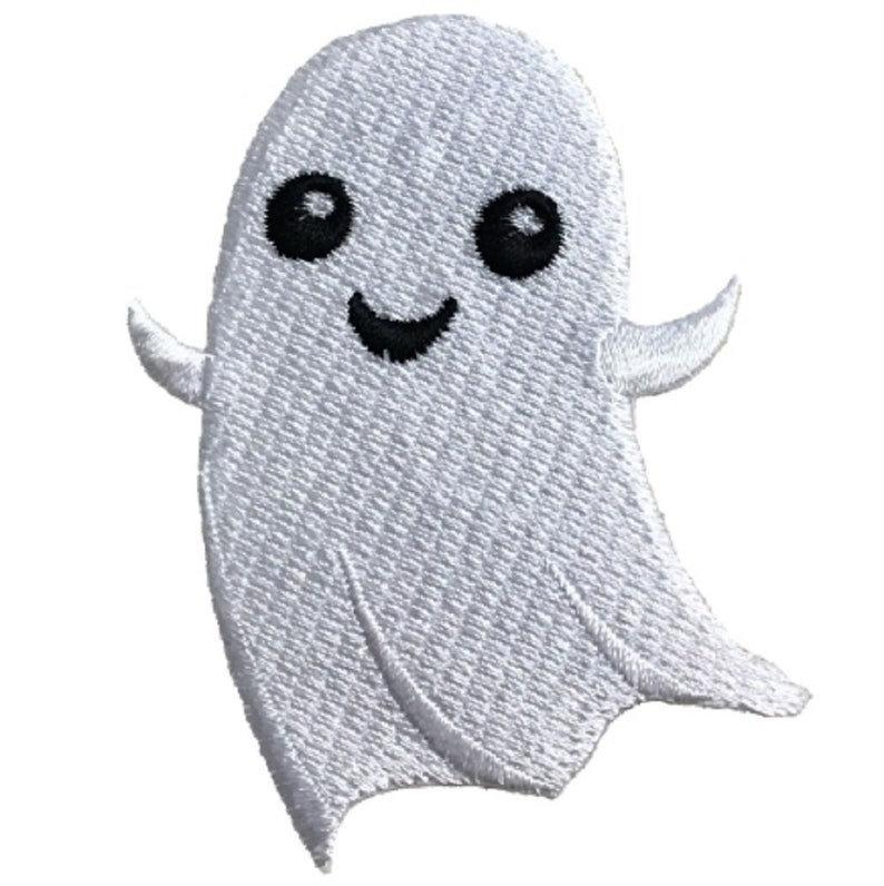Iron on Halloween Badge 2.75 Smiling Ghoul Ghost Applique Patch