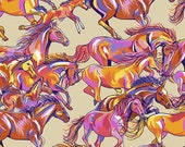 Calico Horses Range Runners Big Sand by Lorraine Turner for Free Spirit Fabrics 100 woven cotton quilt shop quality fabric