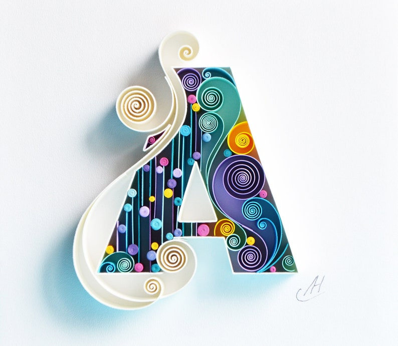 Custom Framed Gift birthday A Gift quilling art Personalized Monogram paper art Decor Design Quilling wall paper art Letter A
