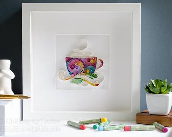 Quilling Paper Wall Art, Coffee, Cup, Mug, Paper art, Home decor, Decoration, Wall decor, Gift, Birthday gift