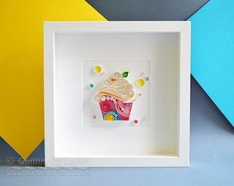 Happy Cupcake - Quilling Paper Wall Art - Handmade gift - Creative gift - Wall art framed - Birthday gift - Home decor