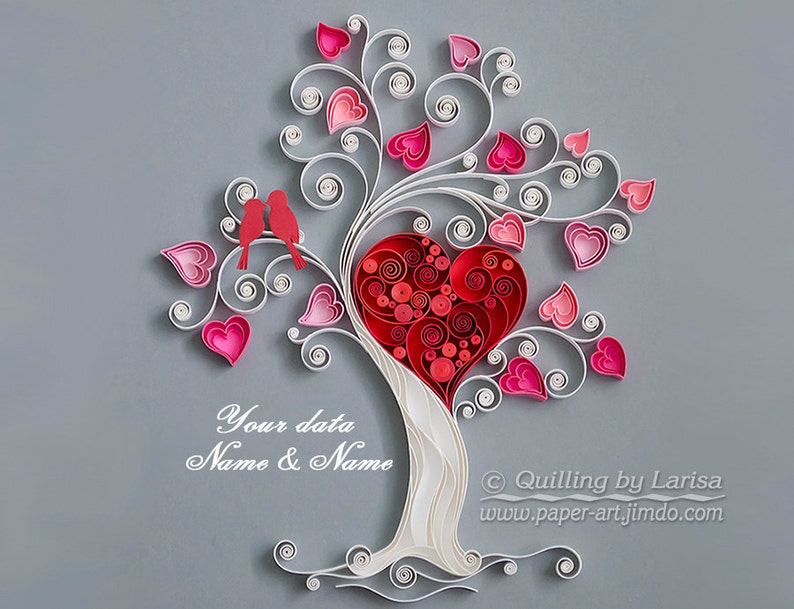 quilling wall art paper quilling art love tree quilling paper etsy rh etsy com pictures of paper quilling art