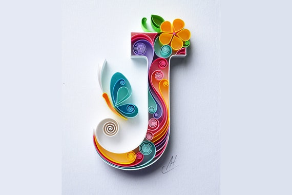 Letter A Personalized Gift birthday Decor Monogram Quilling wall paper art Custom Gift quilling art A paper art Framed Design