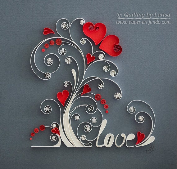 sc 1 st  Etsy & Quilling wall art Paper quilling art Love tree Quilling paper