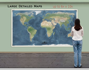 Big World Map. Huge Map of the World. Up to 6x10ft in Size. | Etsy