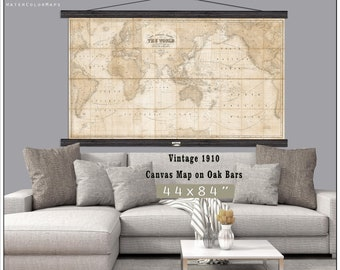 Map wall tapestries etsy large vintage world map world map in antique colors world map grand canvas wall tapestry up to 6xft x 10ft map gumiabroncs Images