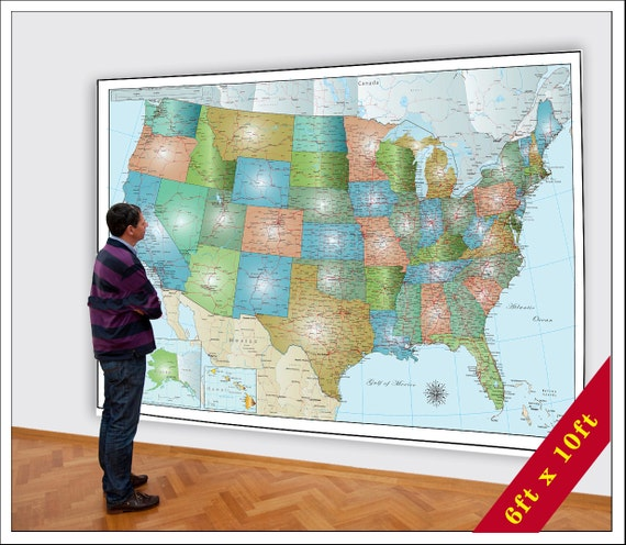 Use States Map.Large Usa Map Huge Map Of The Usa 6xft X 8ft Map Etsy