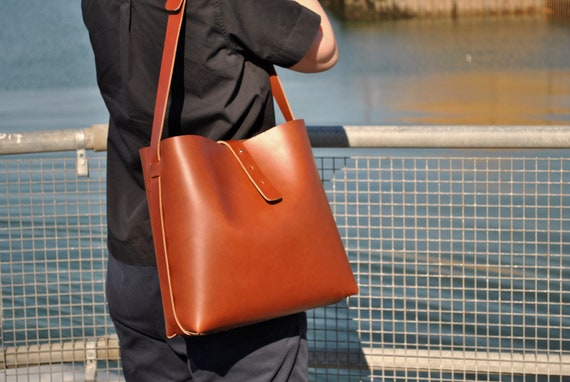 Leather Tote Bag made from Italian Leather Women s   Etsy 83b496e5b5