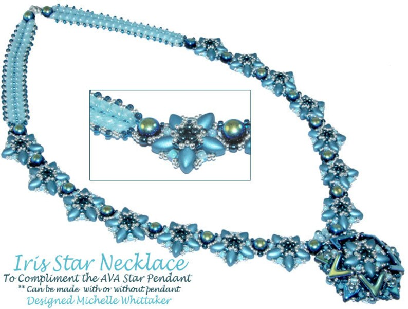 Iris Star Component Necklace (Great Earrings) Needlework Tutorial PDF - The  AVA Star Pendant Is NOT included, listed seperately