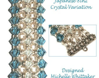 Japanese 8in2 Embellished Crystal Weave Chain Maille Bracelet Tutorial PDF