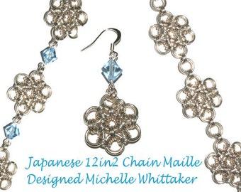 Japanese 12in2 Embellished Crystal Weave Chain Maille Bracelet Tutorial PDF
