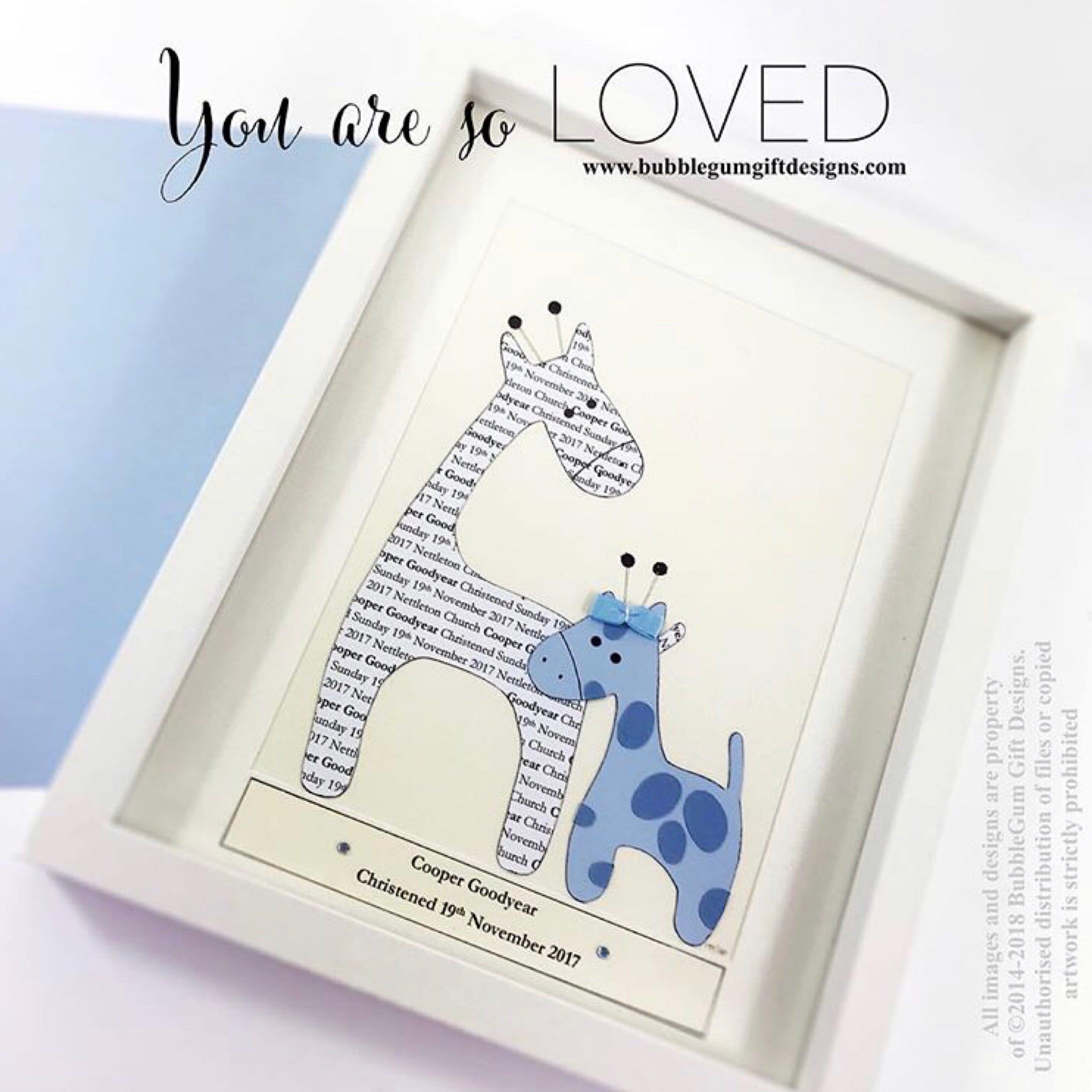Baby Boy Gift Christening Gift Handmade Personalised Boxed Frame Giraffe  Keepsake for Nursery Free Postage Baby blue