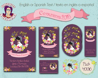 First Holy COMMUNION, kit # 4006, Invitation in 2 sizes, Toppers 2 models, Reading Point  and Thank You Card, Holy Communion Girl