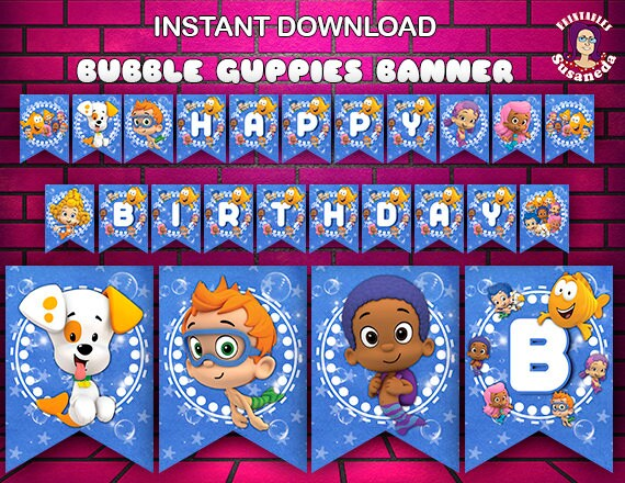 Bubble Guppies Inspired Birthday Banner Printable In English Etsy