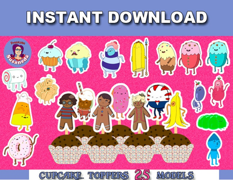 ADVENTURE TIME TOPPERS, Candy People, Adventure Time Birthday Decoration,  s, cupcake toppers, Instant Download