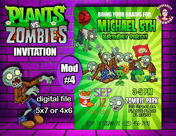 Pvz Personalized Invitation 5 X7 Or 4 X6 Plants Vs Zombies Birthday Digital Invitation Ready To Print Party Supplies