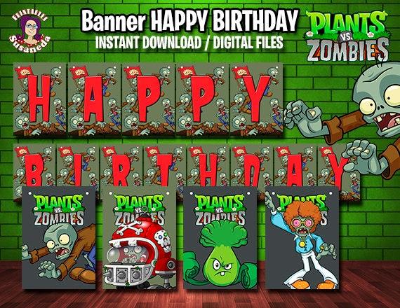 Pvz Plants Vs Zombies English Happy Birthday Banner Banner Etsy