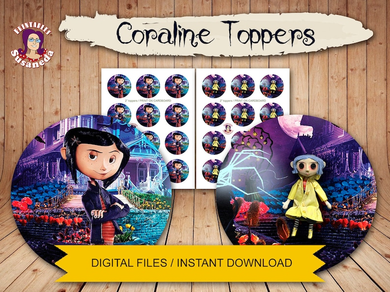 Coraline 2 Toppers Instant Download Coraline Jones Etsy