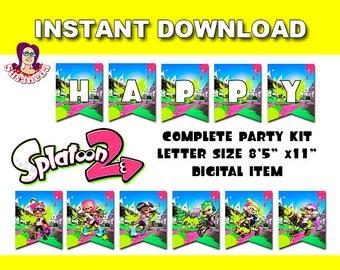 SPLATOON 2  Party Kit Printable in English. Instant download!, Splatoon 2 Party, Splatoon 2 Birthday Banner, Salmon Run