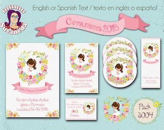 First Holy COMMUNION, kit # 3004, Invitation in 2 sizes, Toppers 2 models, Reading Point  and Thank You Card, Holy Communion Girl