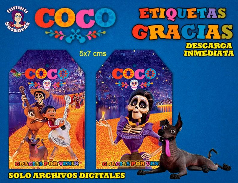 Coco Favor Tags Coco Party Tags COCO GRACIAS tags Coco Birthday Favor Tags Coco Birthday in Spanish