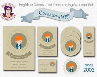 First COMMUNION, kit # 2002, Invitation in 2 sizes, Toppers 2 models, Reading Point  and Thank You Card, First Communion Boy, mod 2002