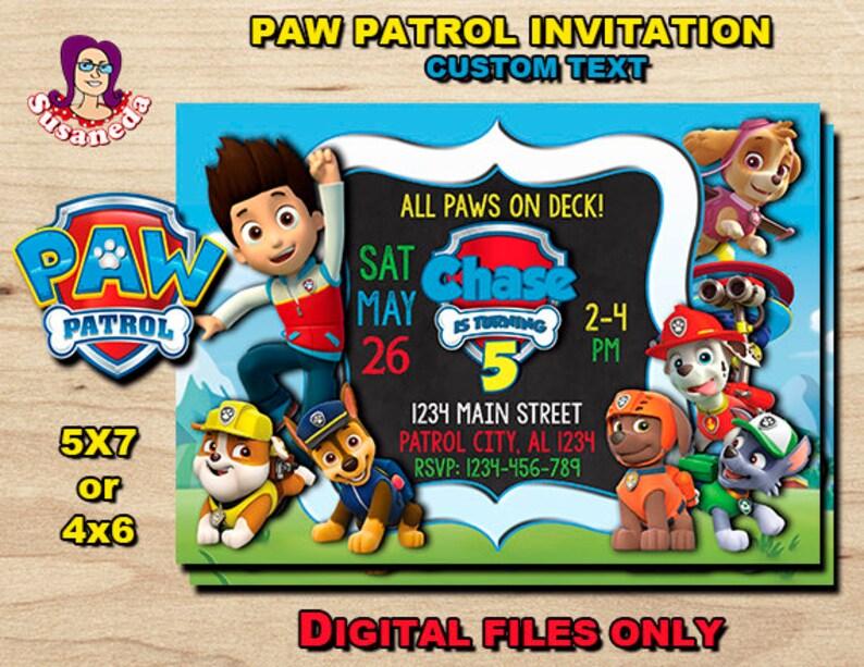 PAW PATROL Personalized Birthday Invitation 5x 7