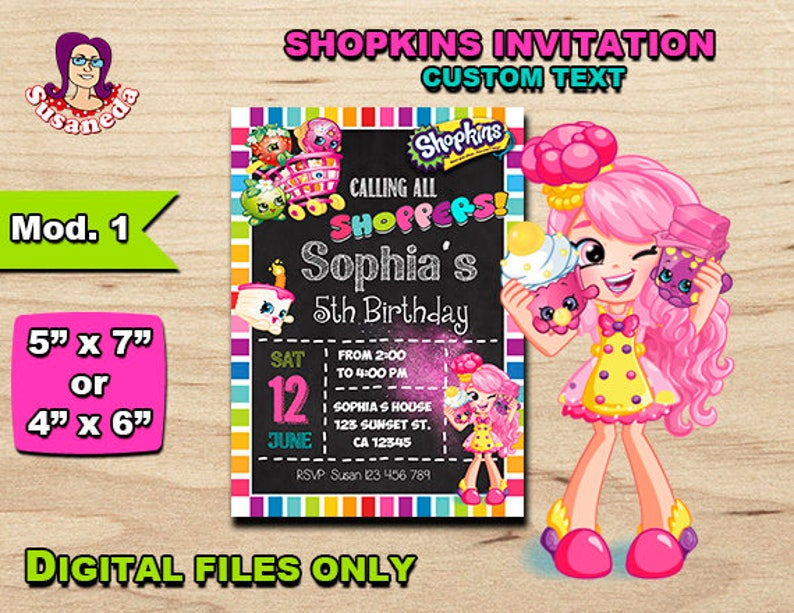 SHOPKINS Personalized Invitation 5x 7 Or 4x