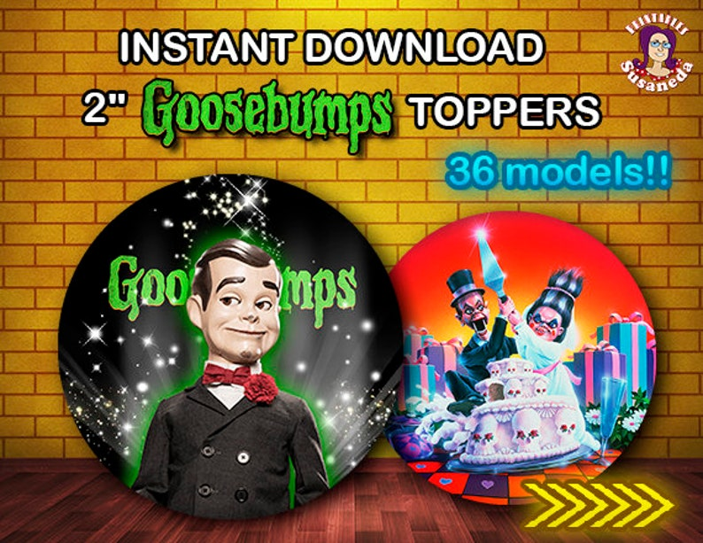 GOOSEBUMPS inspired toppers, Avery 22807 Printable, GOOSEBUMPS Party,  Goosebumps Birthday Supplies, Instant Download
