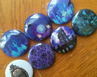 "Haunted Mansion Pin Buttons 1"" set"