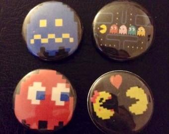 "Pac Man 1"" Set Of (4) Pin Buttons"