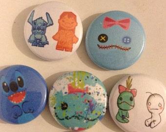 "Set of (5) Pin Buttons ""1 Stitch"