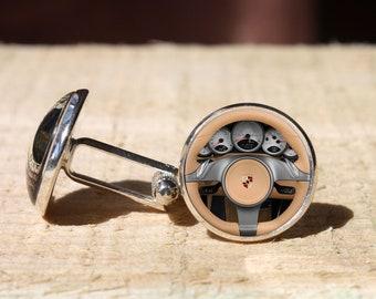Art Gifts Gift for him Car logo wheel Cufflinks Driver wheel cuff link