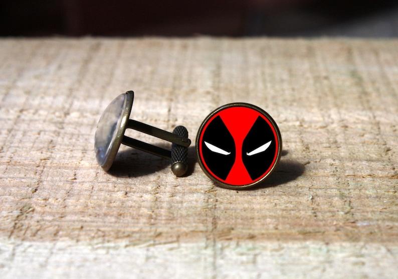 Comic face cufflinks glass dome cuff links superhero groom cufflink custom wedding cuff link nekel free gift for him