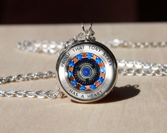 Handmade Iron man Necklace, Arc reactor, Glass dome Pendant, gift for Her Him, nekel free jewelry