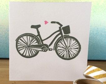 Beach Cruiser Bicycle & Heart Hand Printed Greetings Card - Recycled Card
