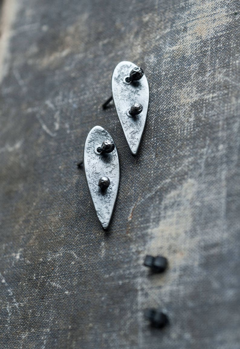 390355eef Sterling silver leaf ear jackets oxidised textured silver   Etsy