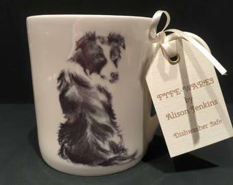 Border collie fine bone china mug
